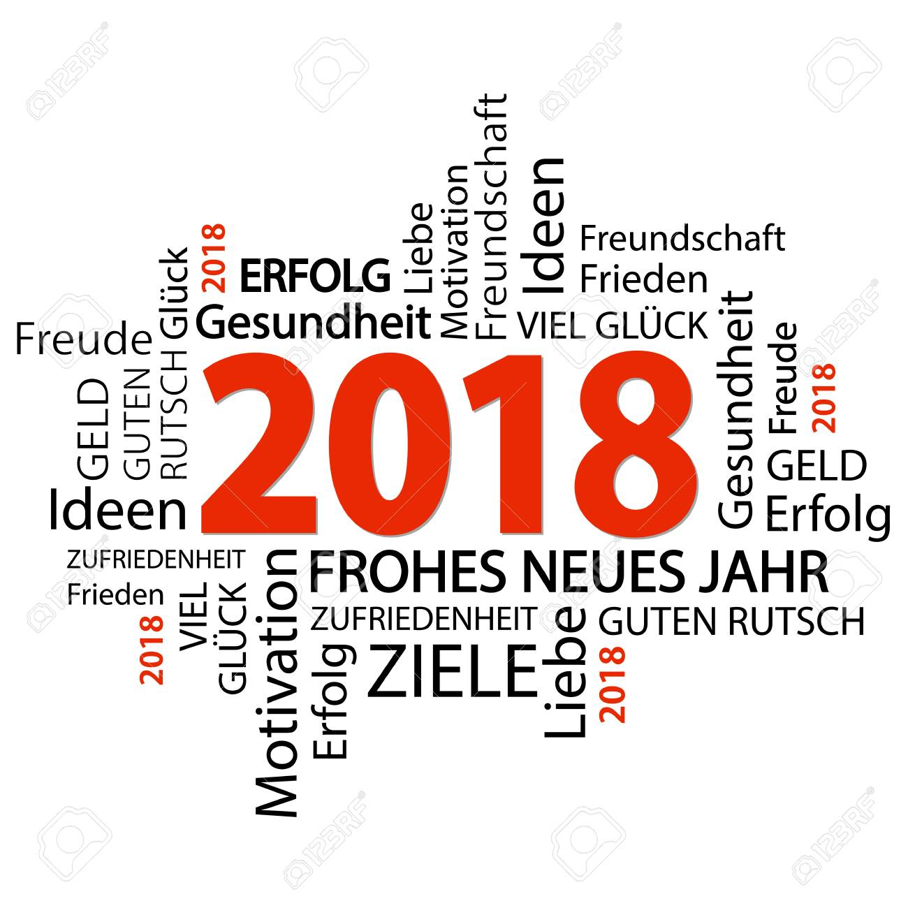 Word Cloud With New Year 2018 Greetings And White Background Royalty