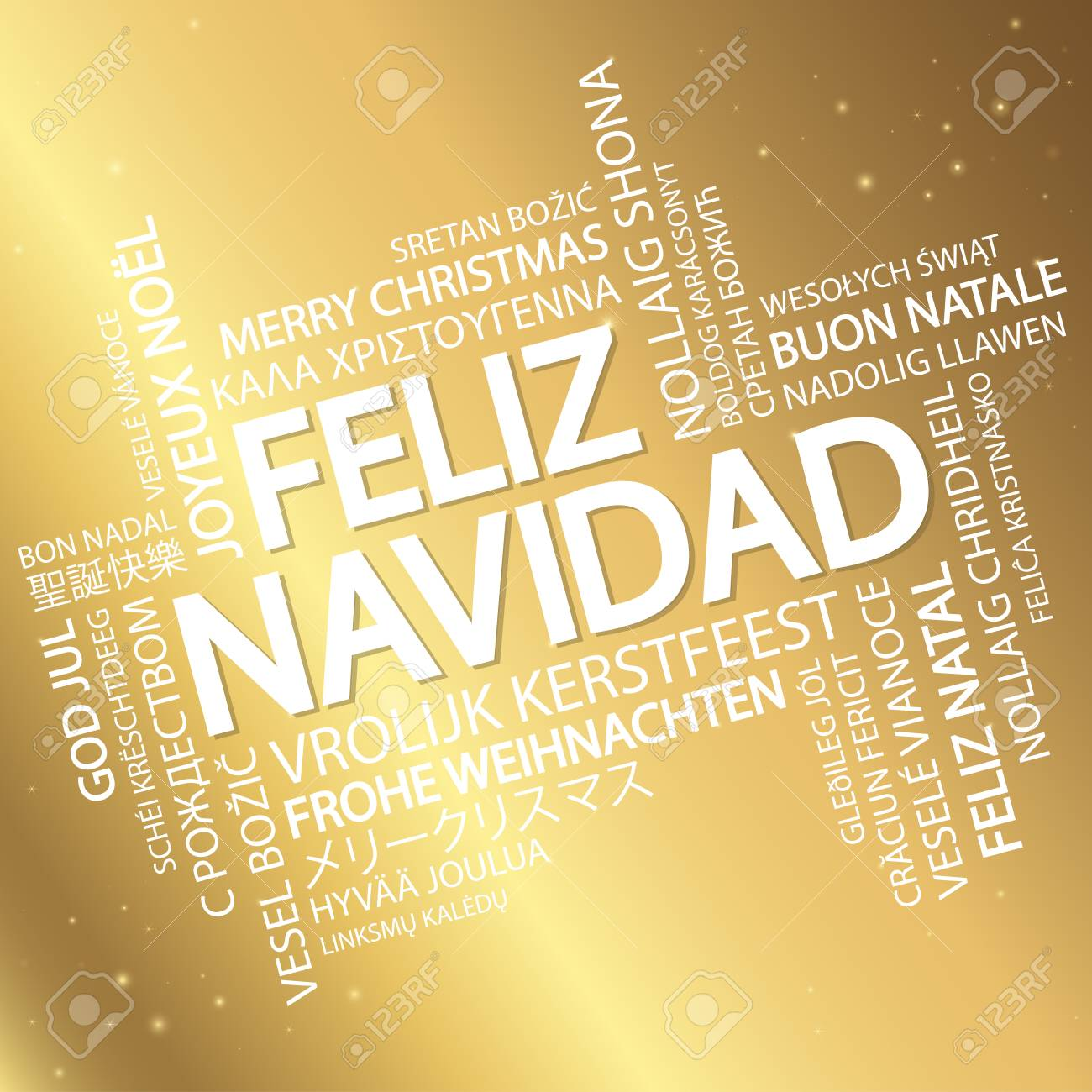 Word Cloud With Text Merry Christmas In Different Languages