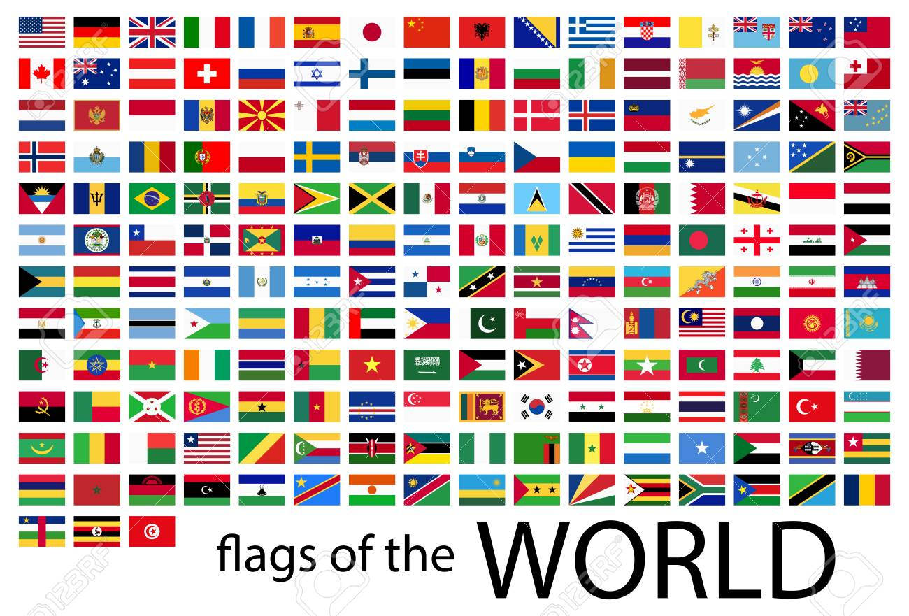 collection of flags from all national countries of the world - 113768934