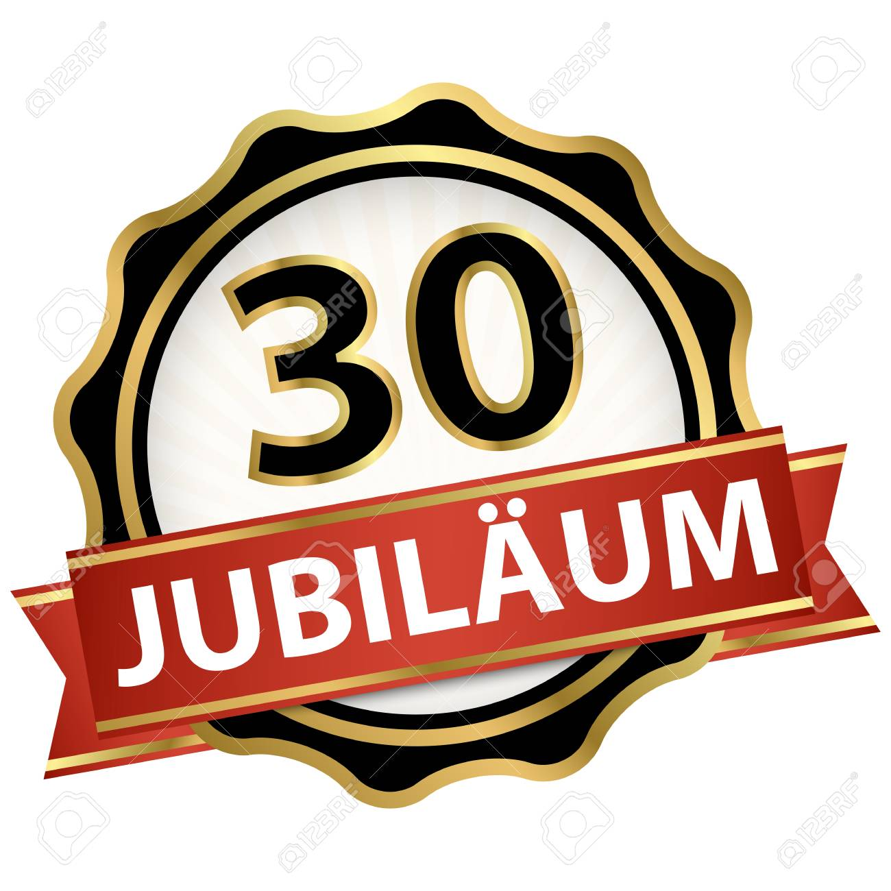 Jubilee button with banner for 30 years (text in german) - 113768985