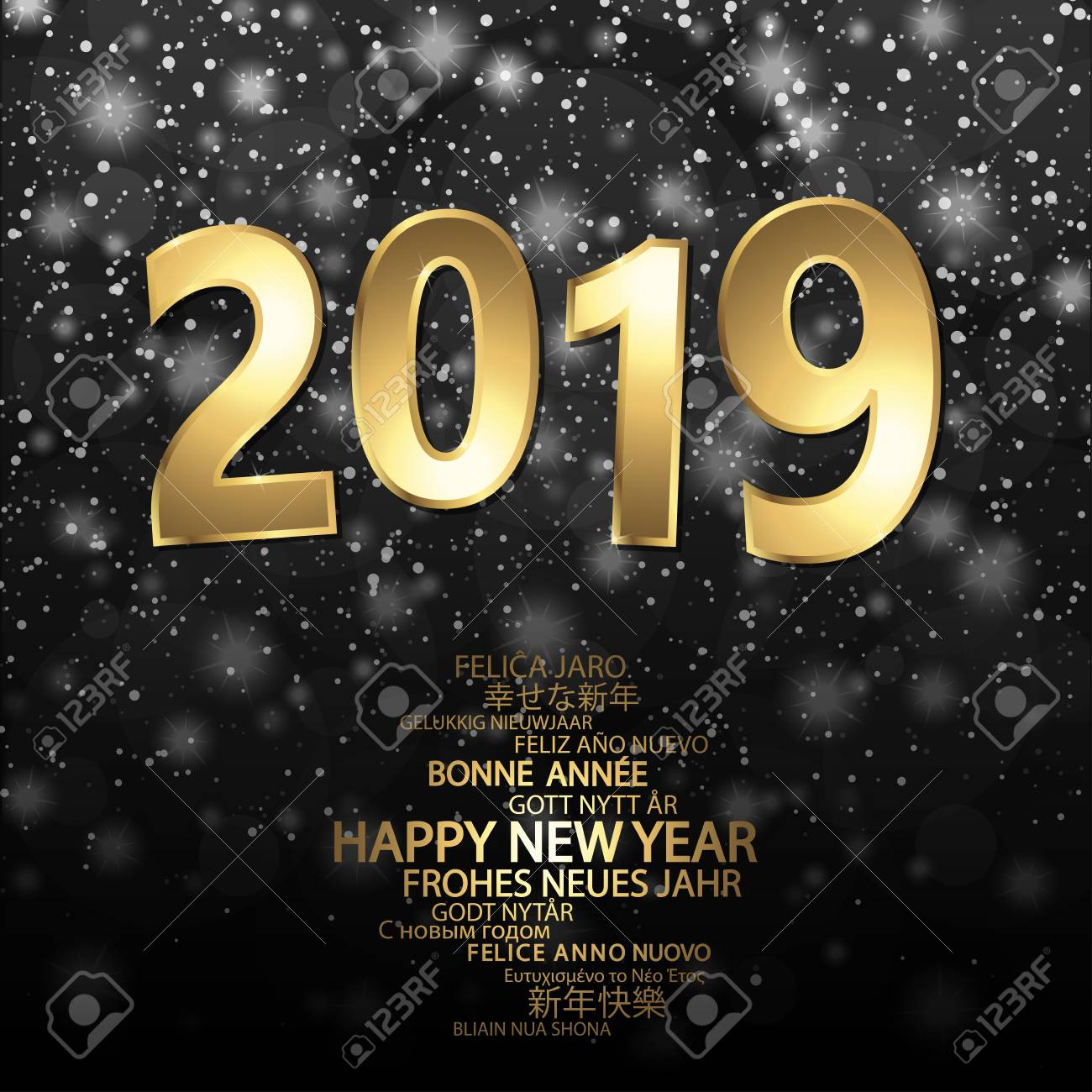 54fcec7089ad happy new year 2019 greetings with golden numbers and black background  Stock Vector - 113769103