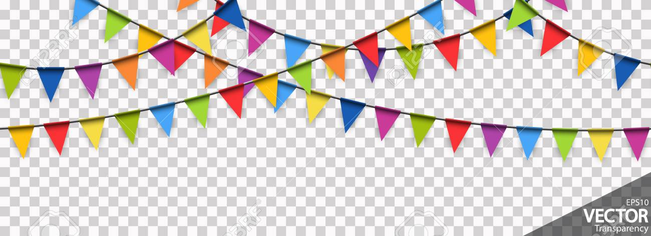 illustration of seamless colored garlands background for party or carnival usage with transparency in vector file - 117797386