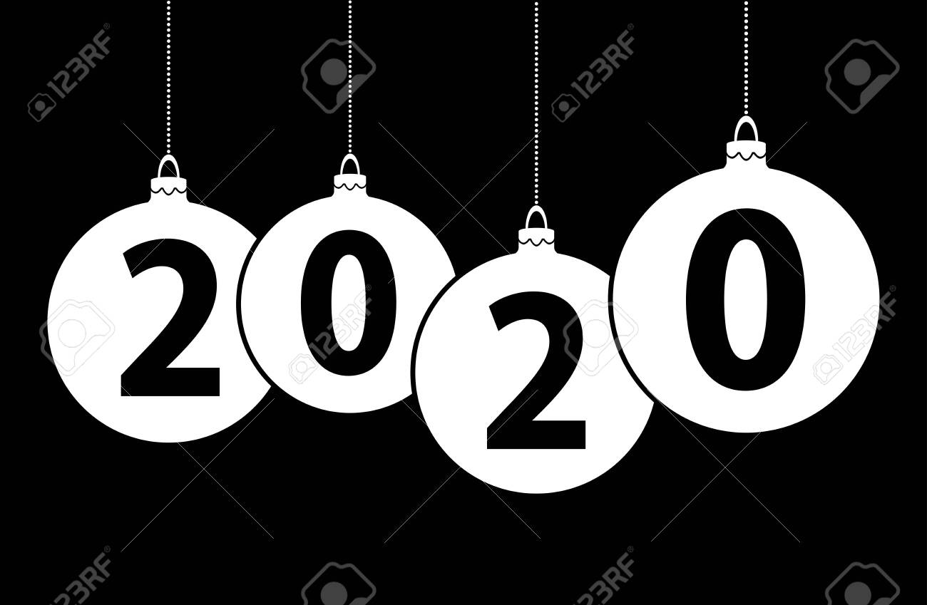 Black And White Christmas 2020 Black Background With White Christmas Bubbles And Text 2020 For