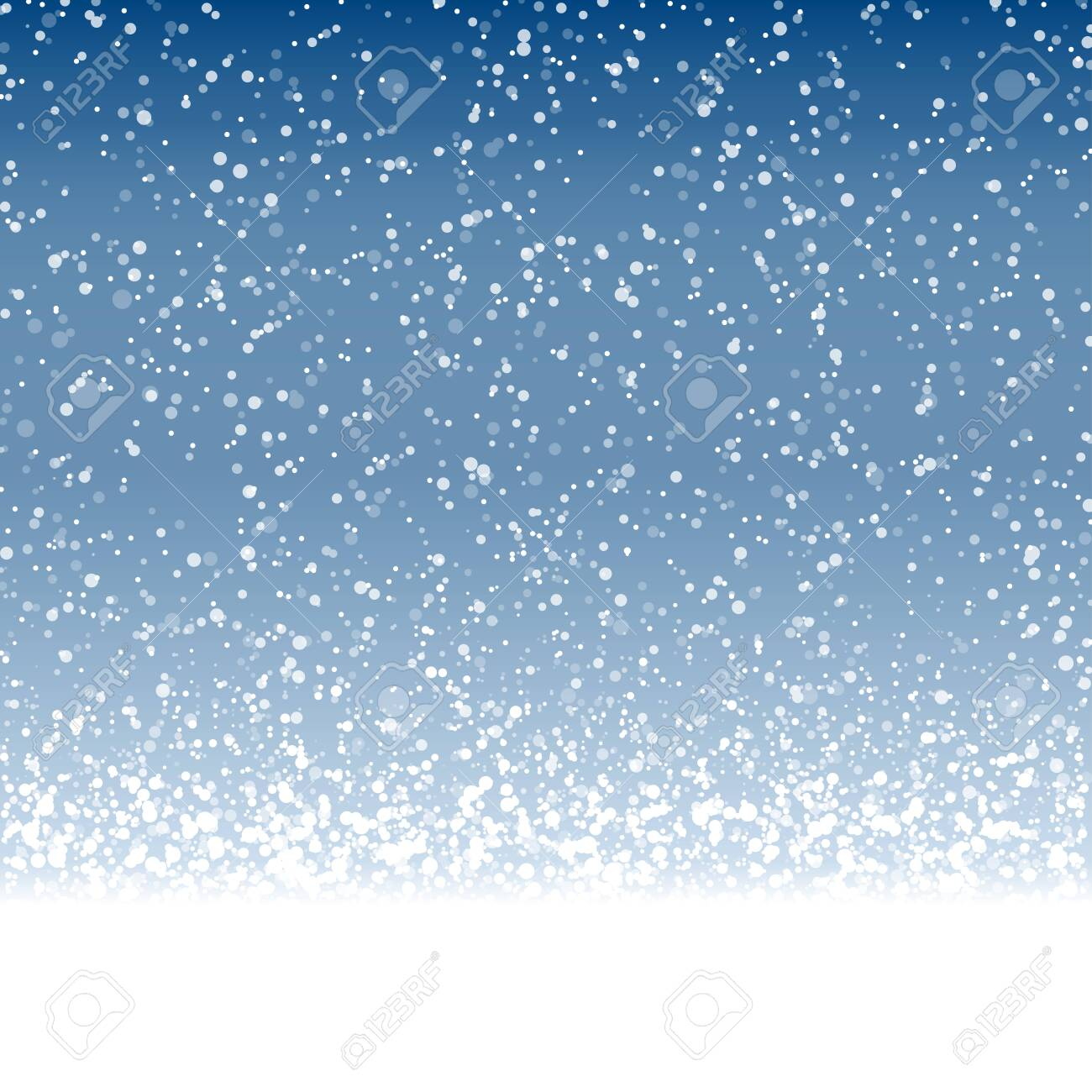 vector file with beautiful falling snow flakes on blue colored background - 134068098