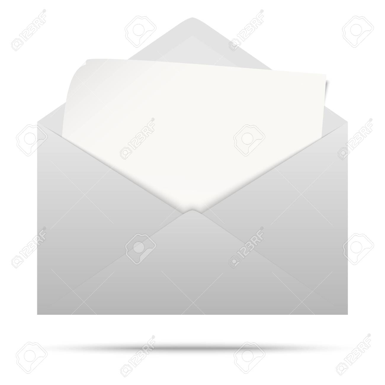 vector illustration with gray colored envelope with white empty paper isolated on white background - 138282078