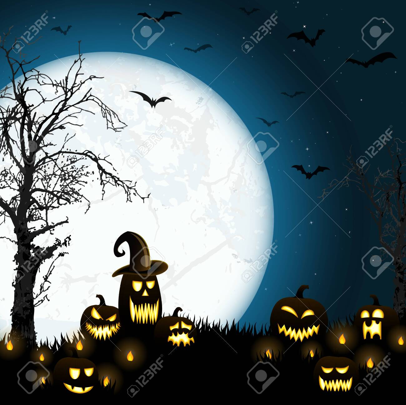 spooky halloween dead tree with some scary pumpkins in front of an full moon with bats - 157967238