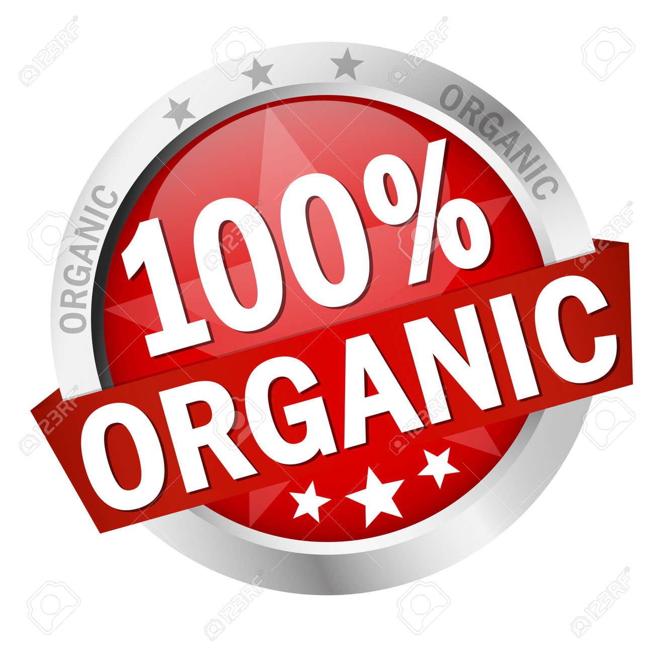 round colored button with banner and text 100% organic - 159182406