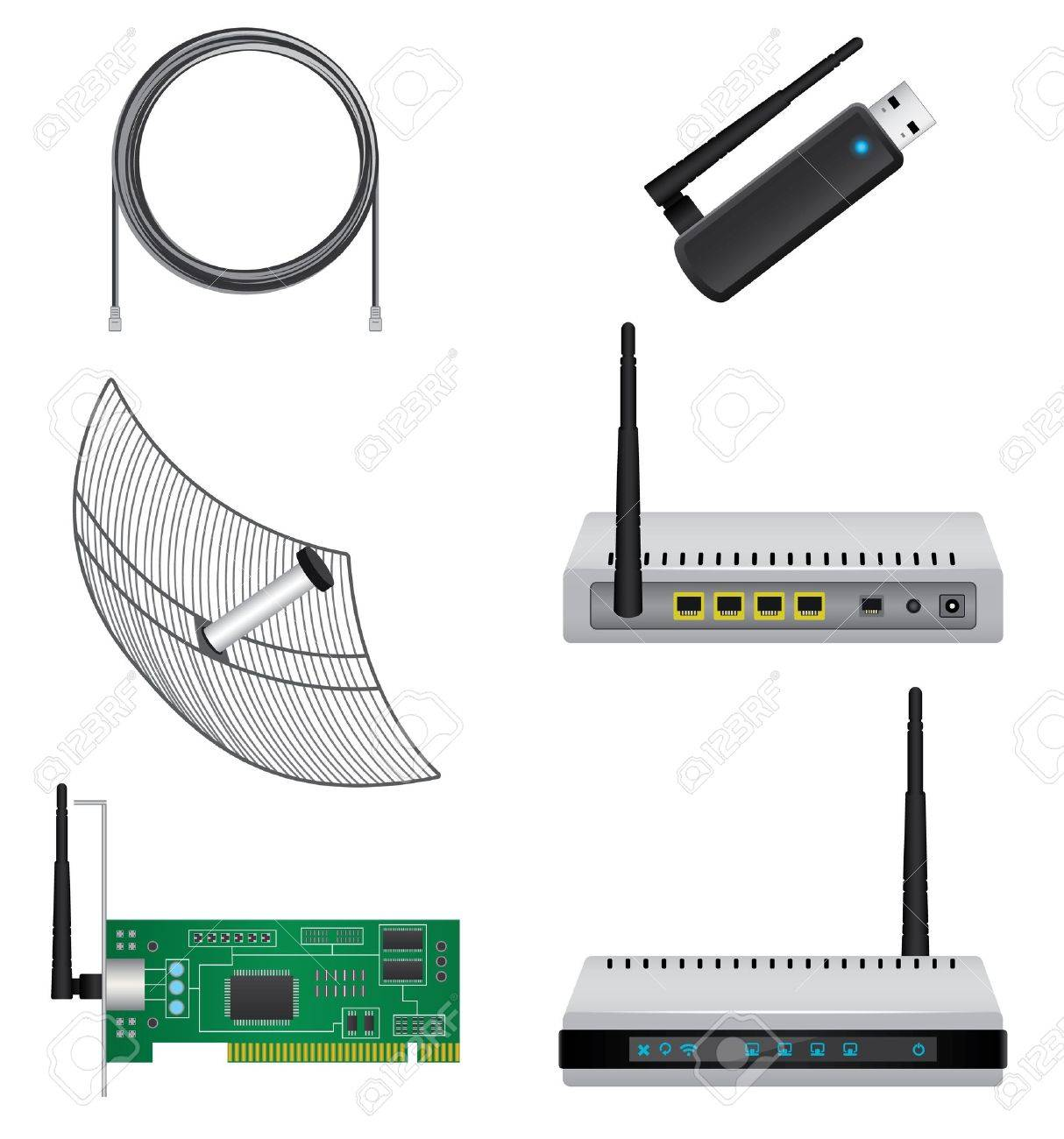 Network hardware set Stock Vector - 20682775