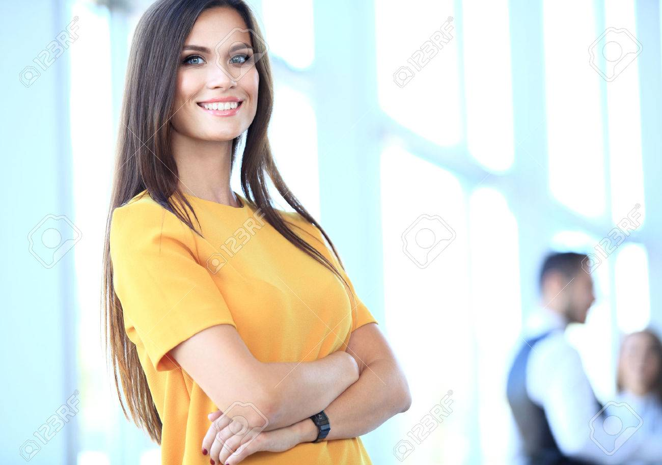 business woman with her staff, people group in background at modern bright office indoors Stock Photo - 48284660