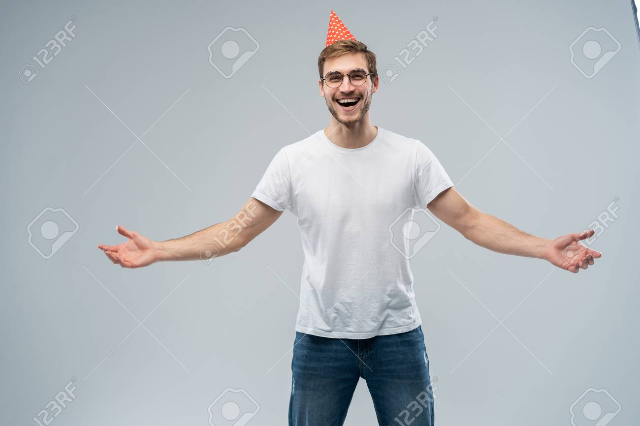 People Joy Birthday Anniversary Fun And Party Concept Picture Of Handsome