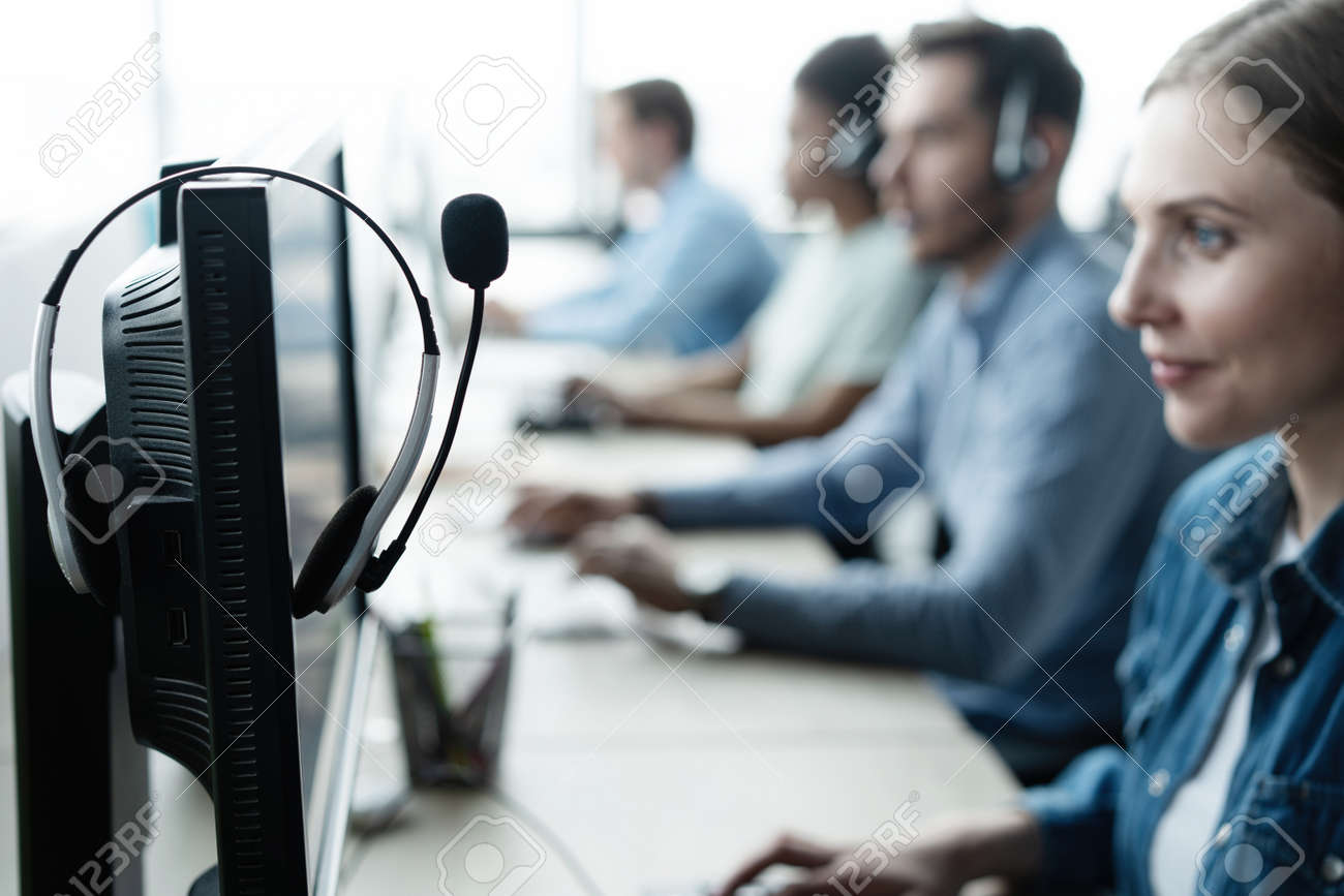 Communication support, call center and customer service help desk at modern office. - 171827792