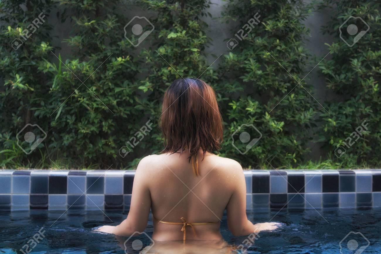 Short hair wet outdoor asian