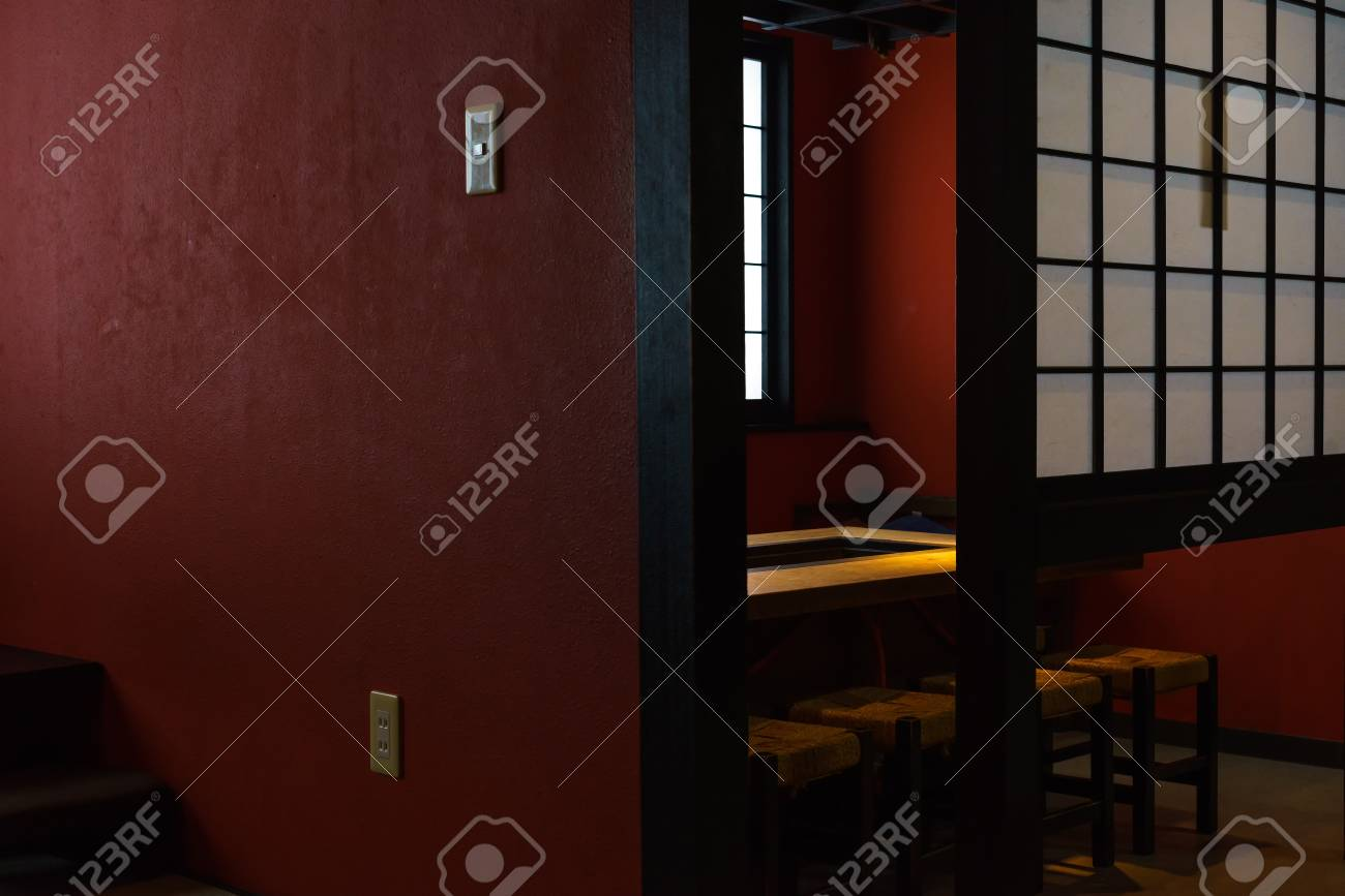 Interior Design Of Japanese Restaurant With Red Wall Wooden Stock Photo Picture And Royalty Free Image Image 79870742