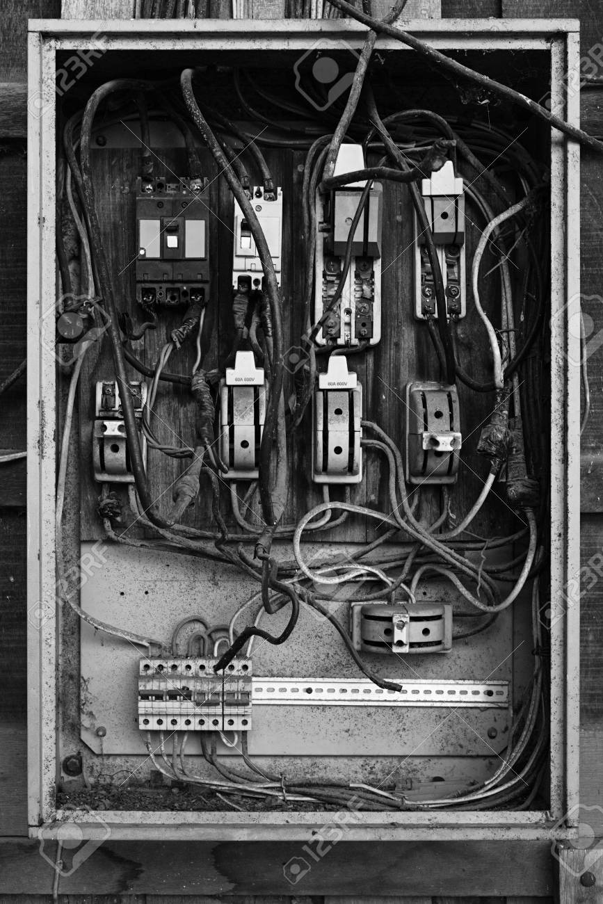 Old Electric Breaker Box With Wires And Fuses In Black White Wiring Stock Photo 99945695