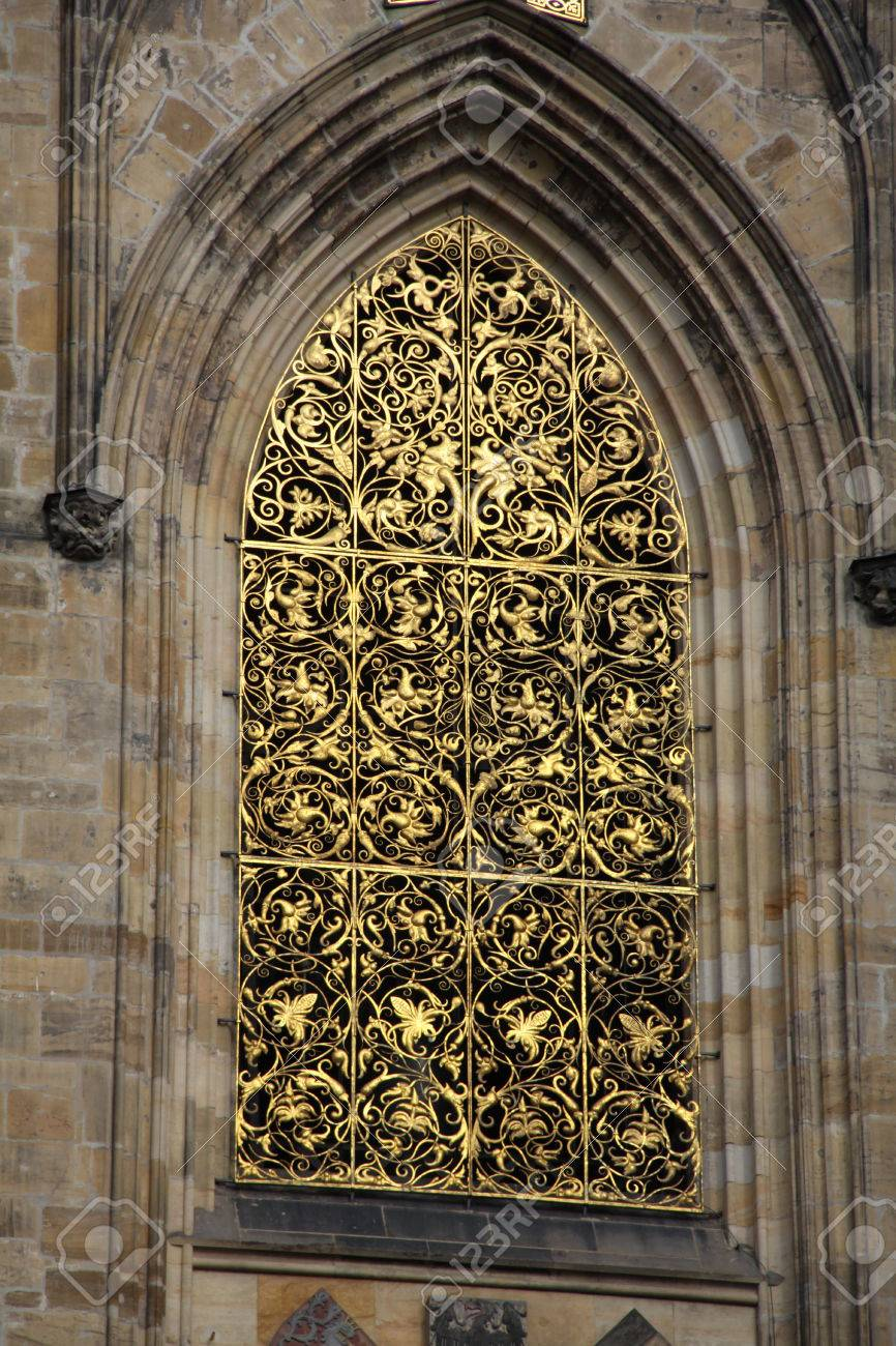 Gothic Church Windows From The Outside With Decorative Lattice Stock Photo