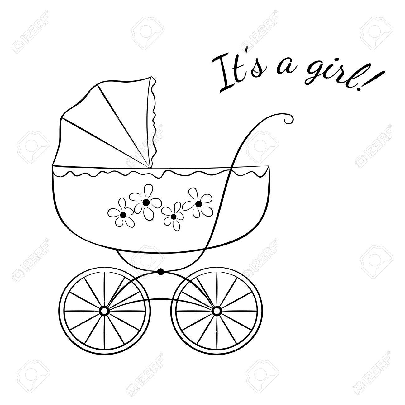 sketch like image of a retro baby carriage variant for a girl
