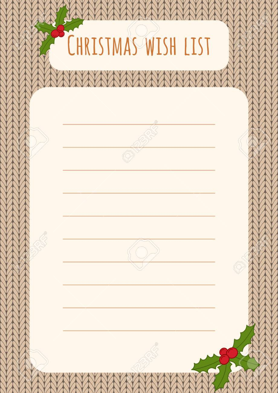 Christmas Wish List Design Template Over A Knitted Background With Holly  Decorations. Stock Vector