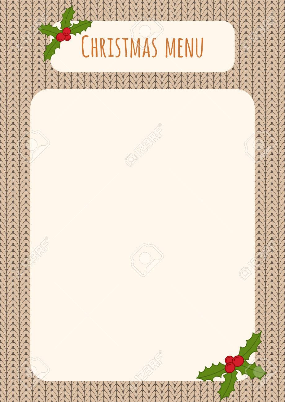 christmas menu template over a knitted background with holly decorations stock vector 48408216