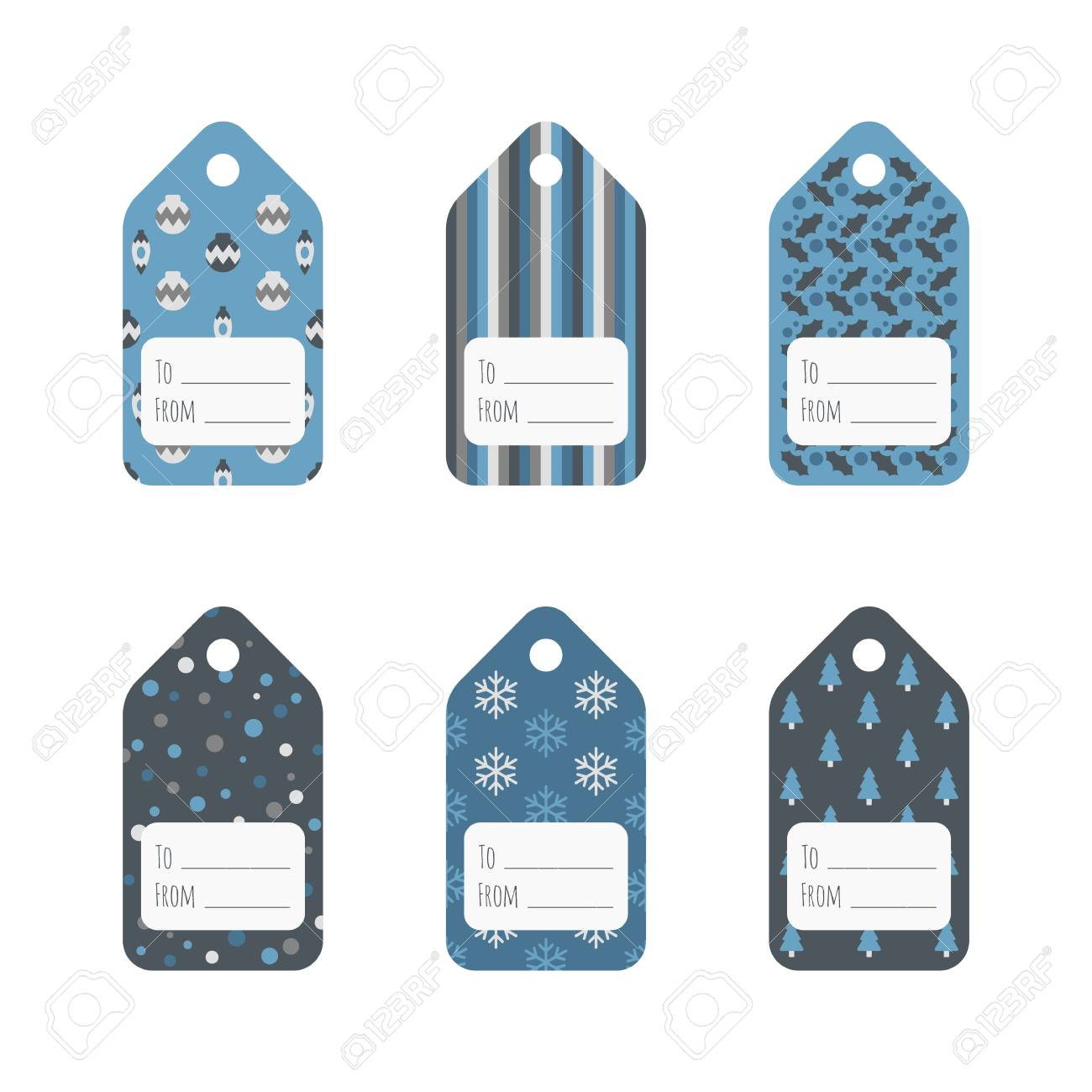set of christmas gift tags in cold winter colors holiday gift