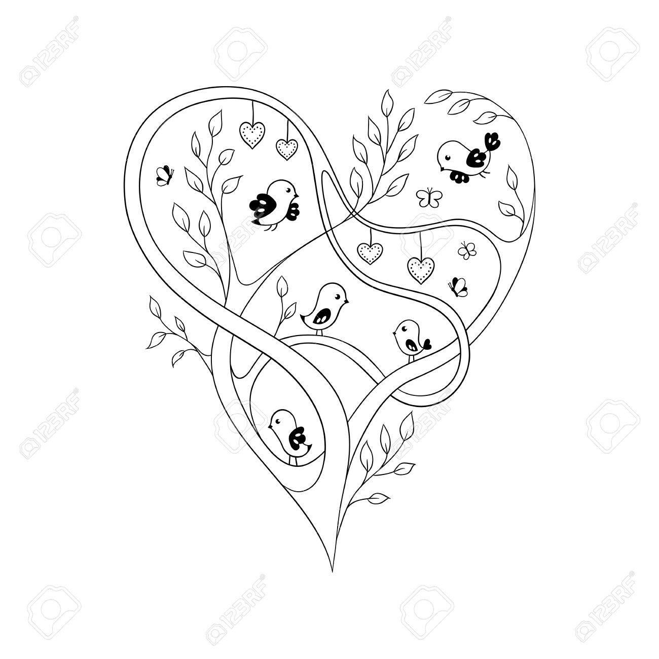 Elegante Corazón Adornado Formado Por Ramas De árboles Con Pájaros Y ...