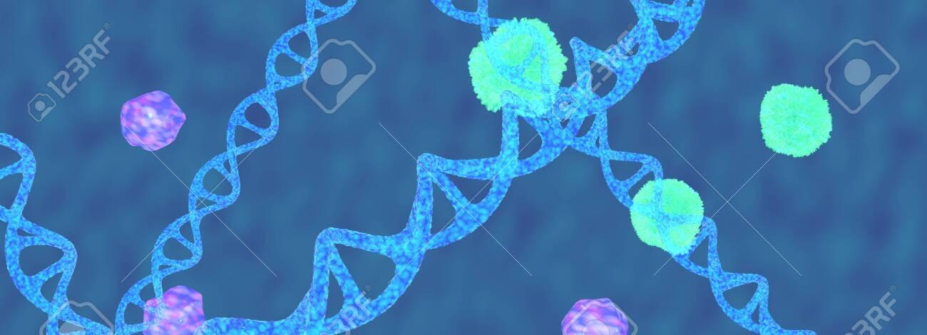 The blue Dna molecule,3d render. - 131122183
