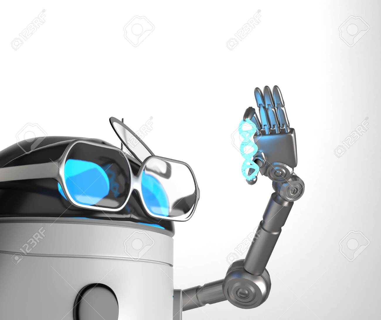 The robot with Blue Dna molecule,text,3d render. - 131122195