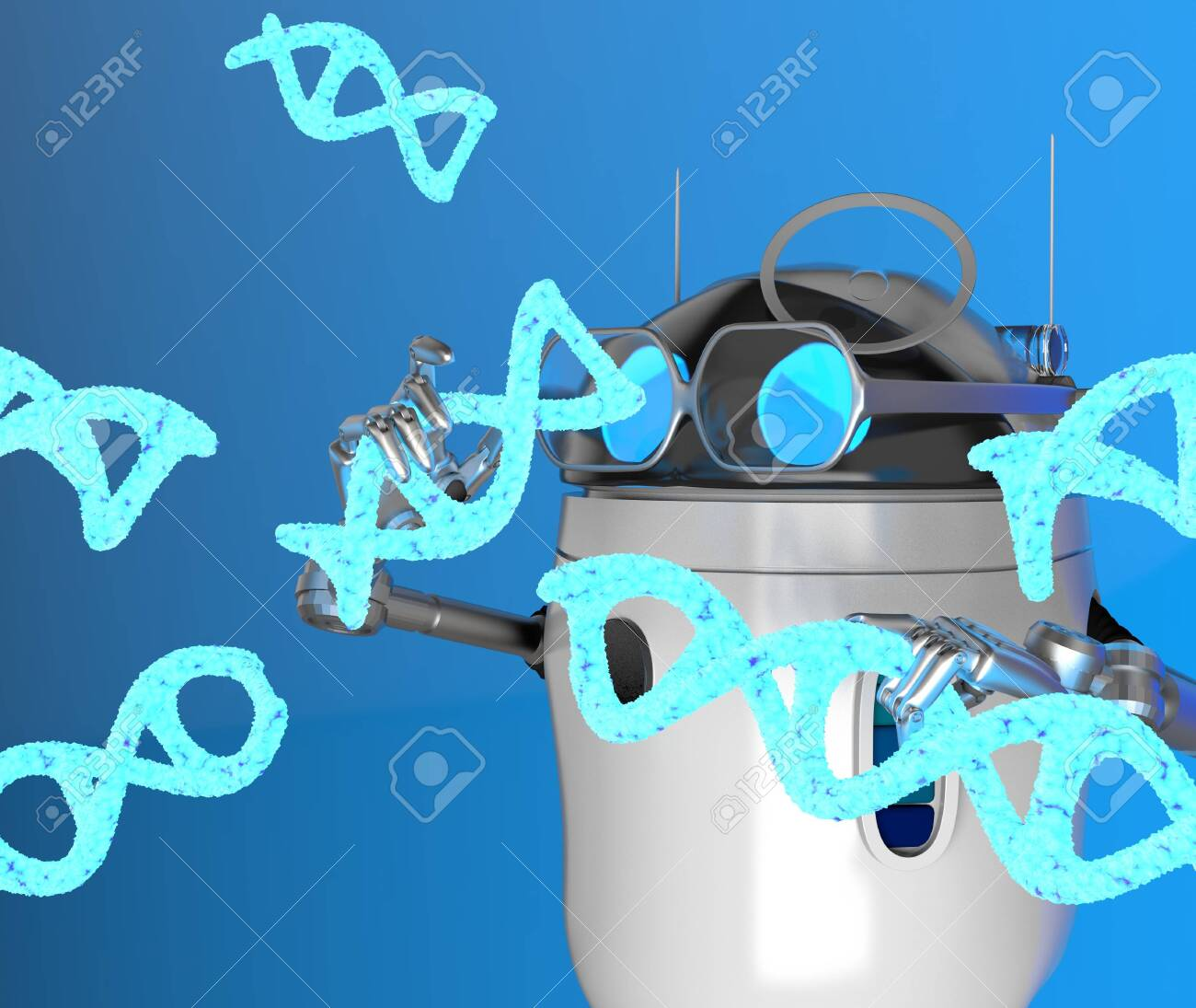 The robot with Blue Dna molecule,text,3d render. - 131122197