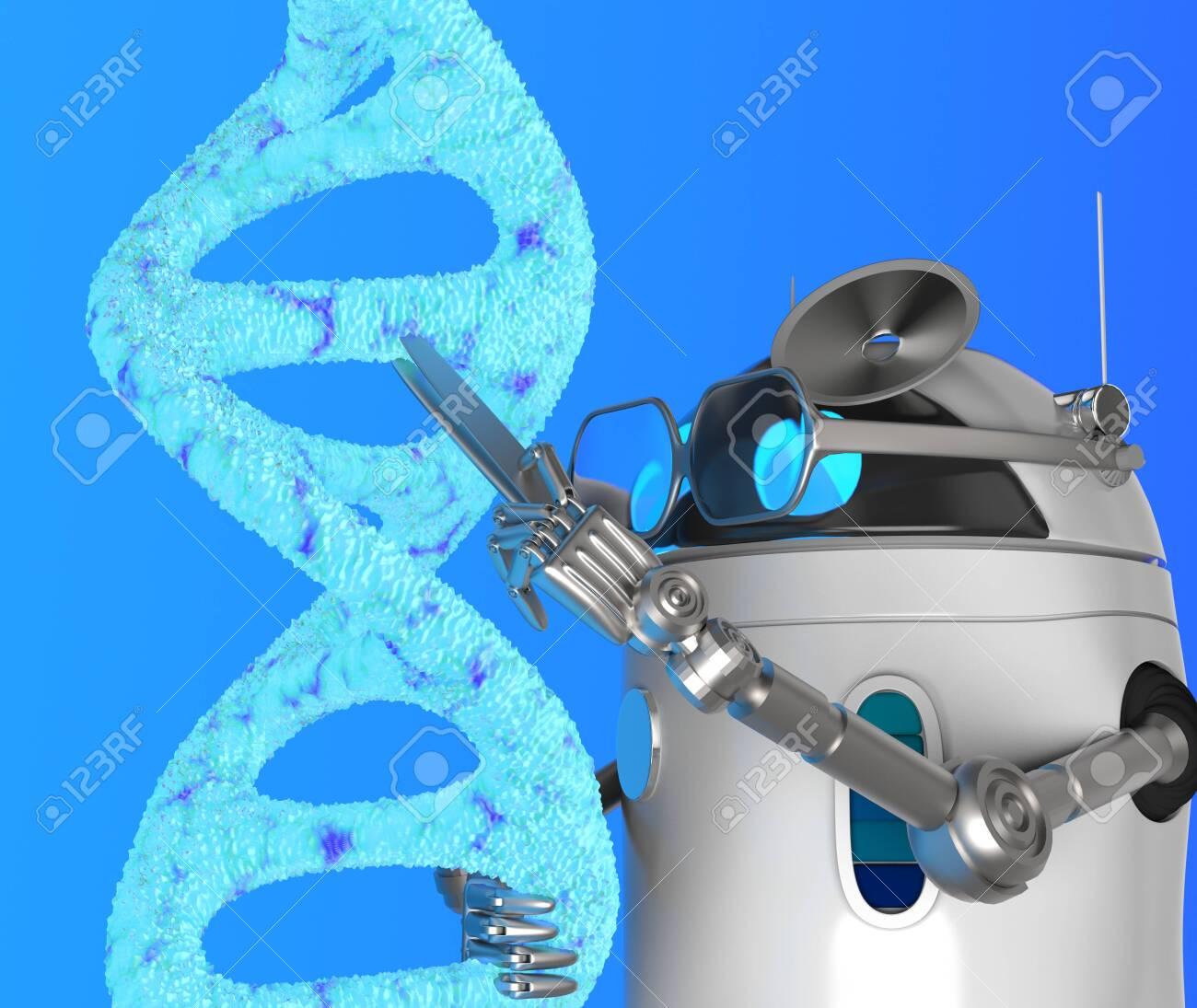 The robot fix Blue Dna molecule,text,3d render. - 131122246