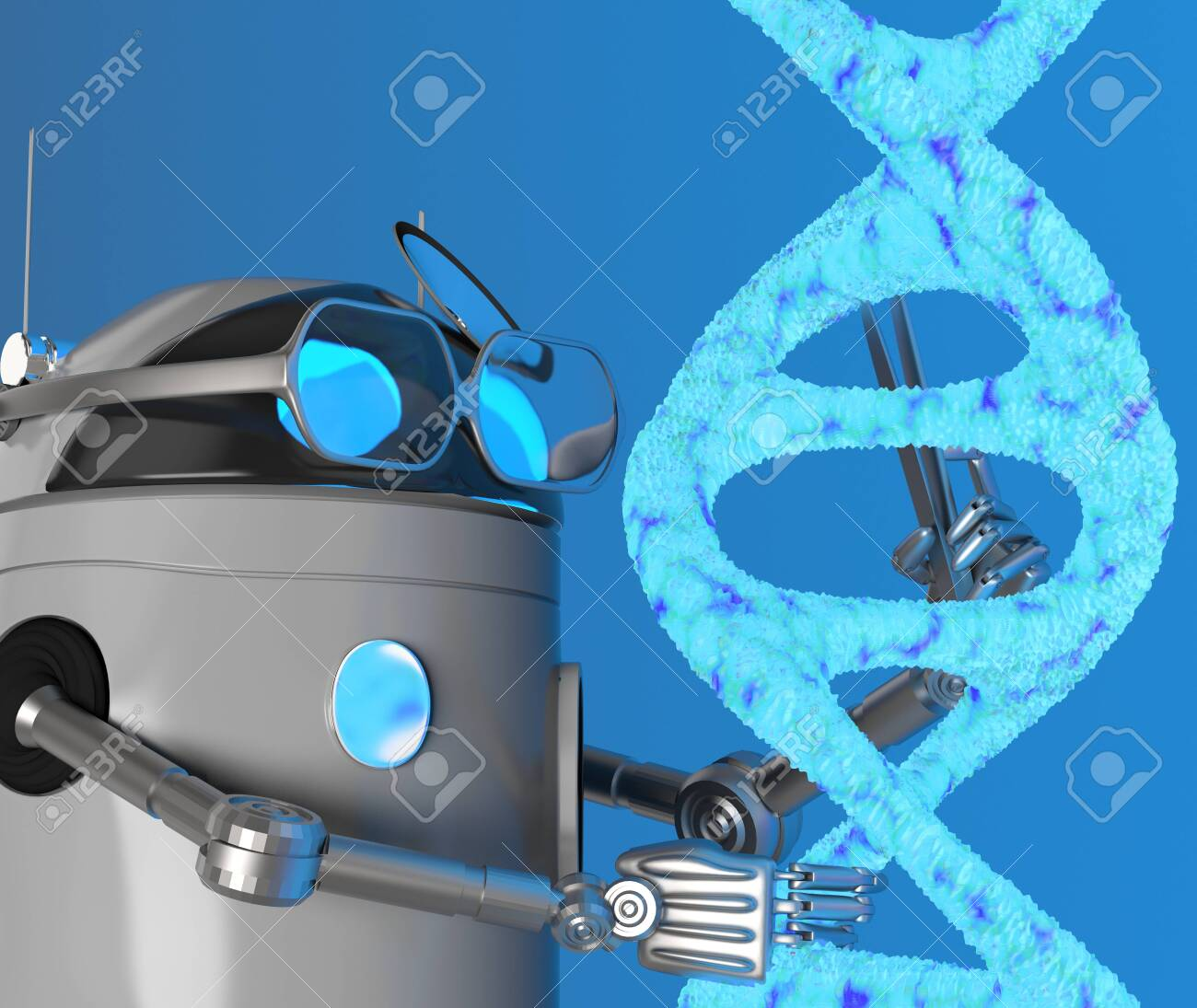 The robot fix Blue Dna molecule,text,3d render. - 131122247