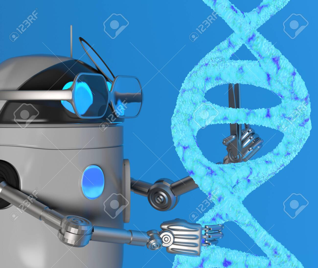 The robot fix Blue Dna molecule,text,3d render. - 131122248