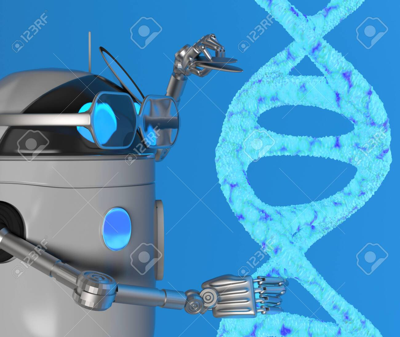The robot fix Blue Dna molecule,text,3d render. - 131122251