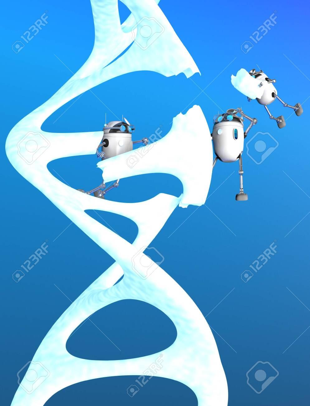 The robots fix Blue Dna molecule,text,3d render. - 131122255