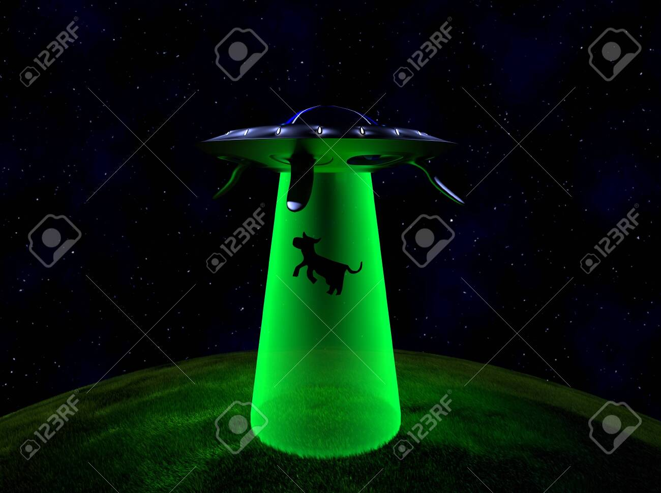 The UFO abduction in night,3d render. - 131122267