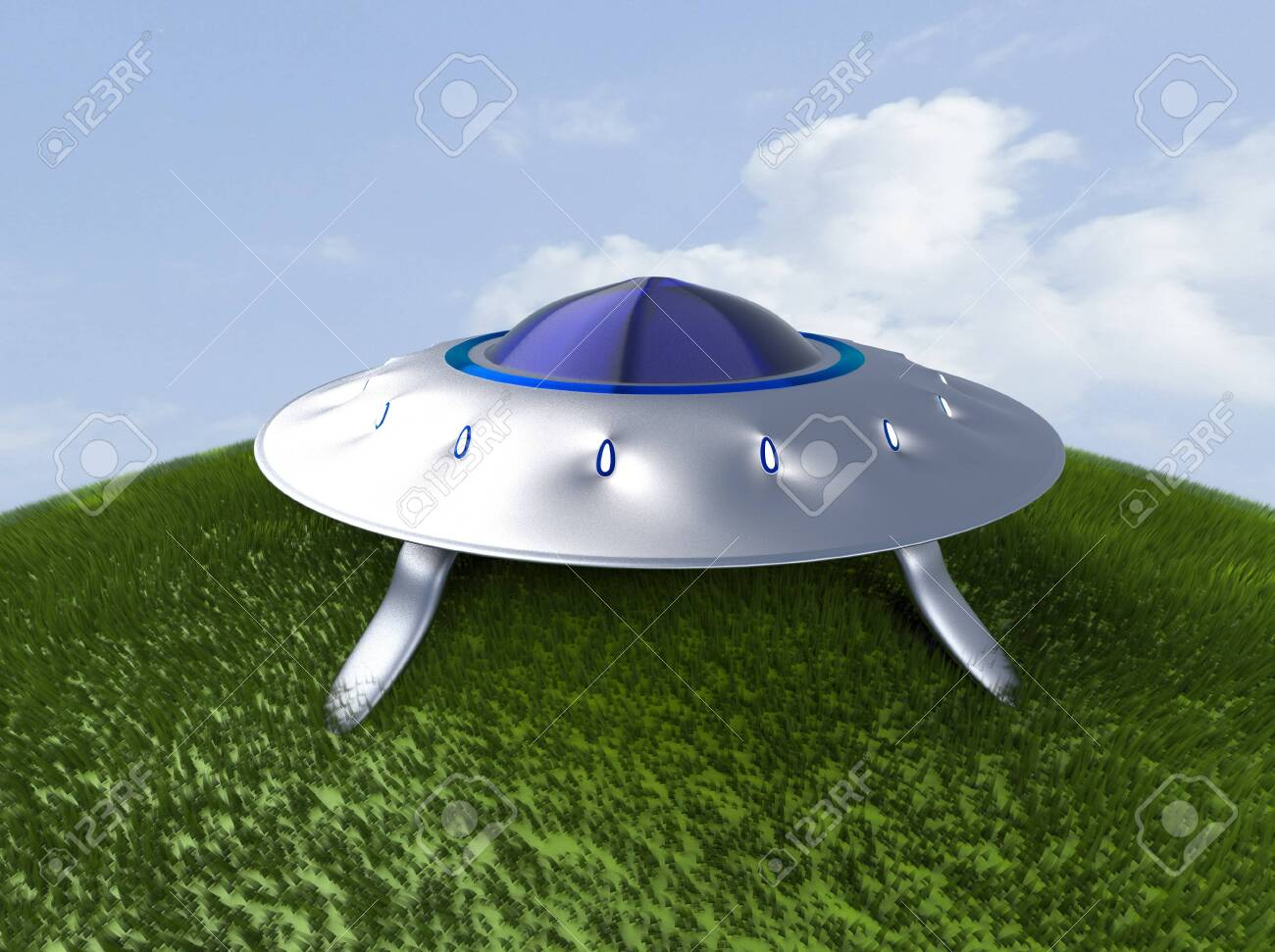 The alien space ship on grass,UFO,3d render. - 131122292