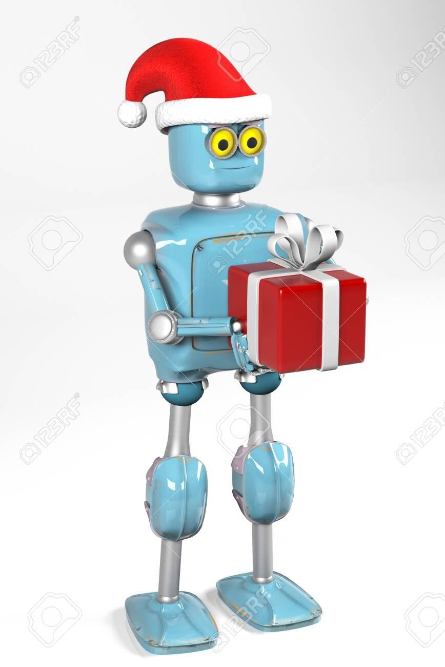 The retro robot in christmas hat,christmas celebration,3d render - 132553953