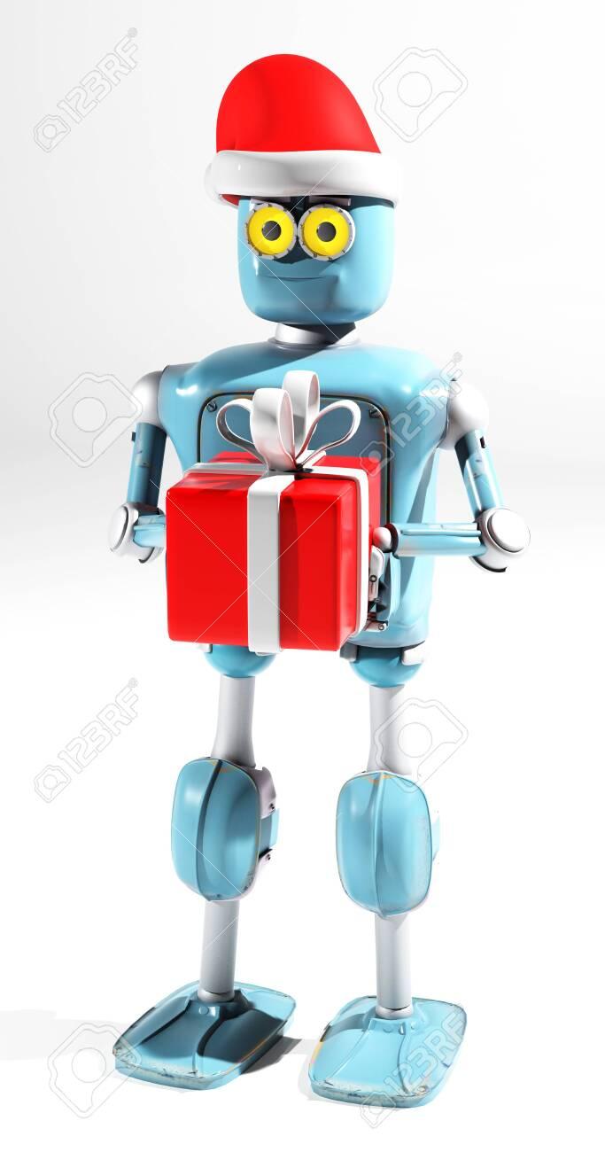 The retro robot in christmas hat,christmas celebration,3d render - 132556401