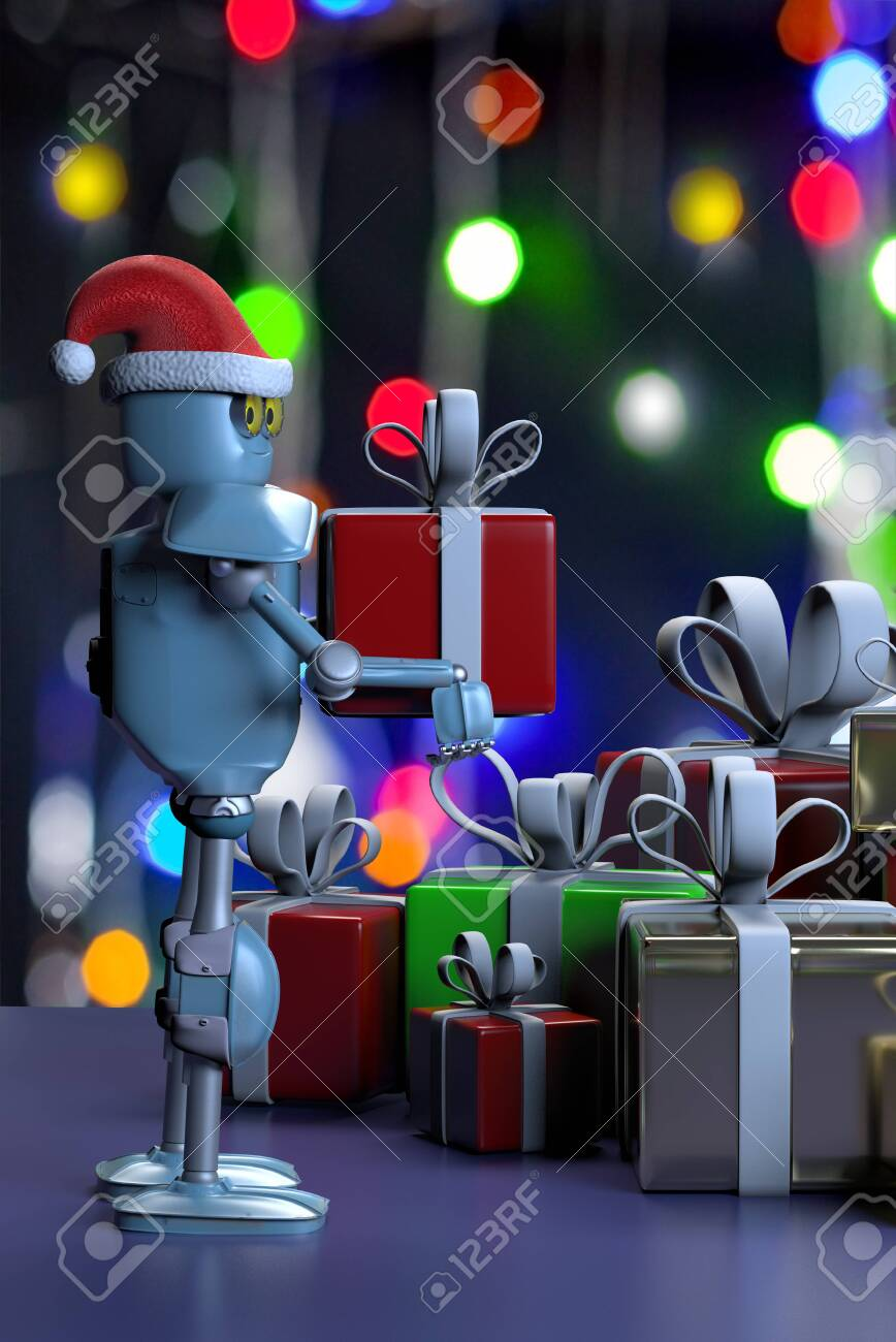 The retro robot in christmas hat,put the box,christmas celebration - 132625118