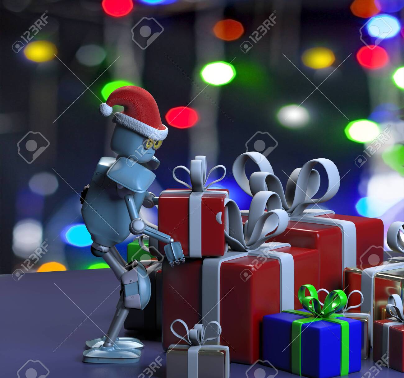 The retro robot in christmas hat,put the box,christmas celebration - 132625120