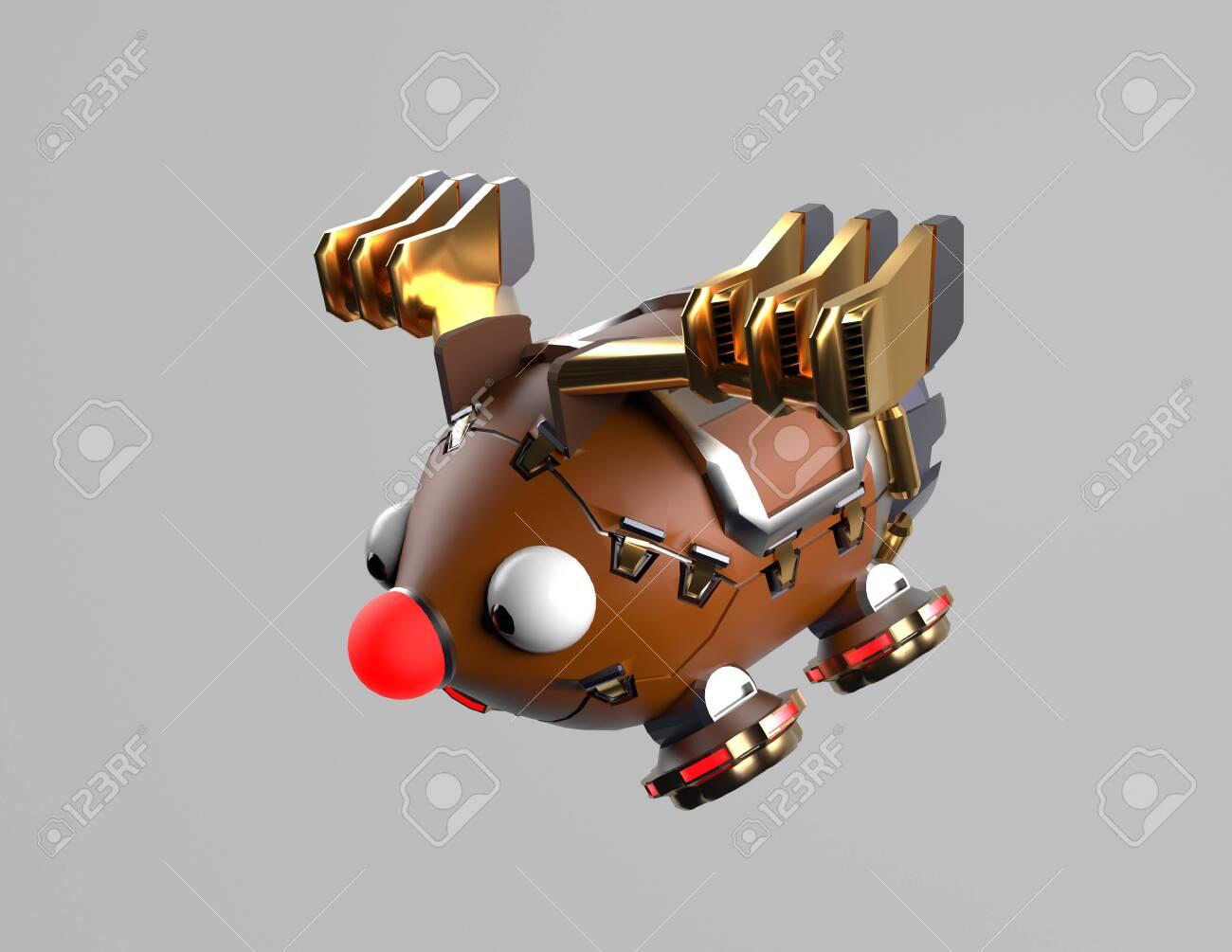 The robot deer,fly deer,christms deer,3d render. - 137047403