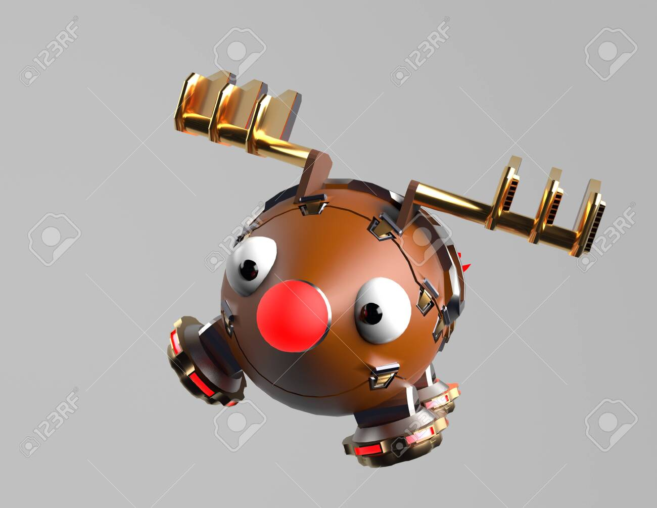 The robot deer,fly deer,christms deer,3d render. - 137047406