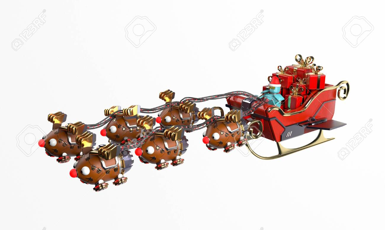 The christmas sleigh with six deer robots.3d render. - 137047411