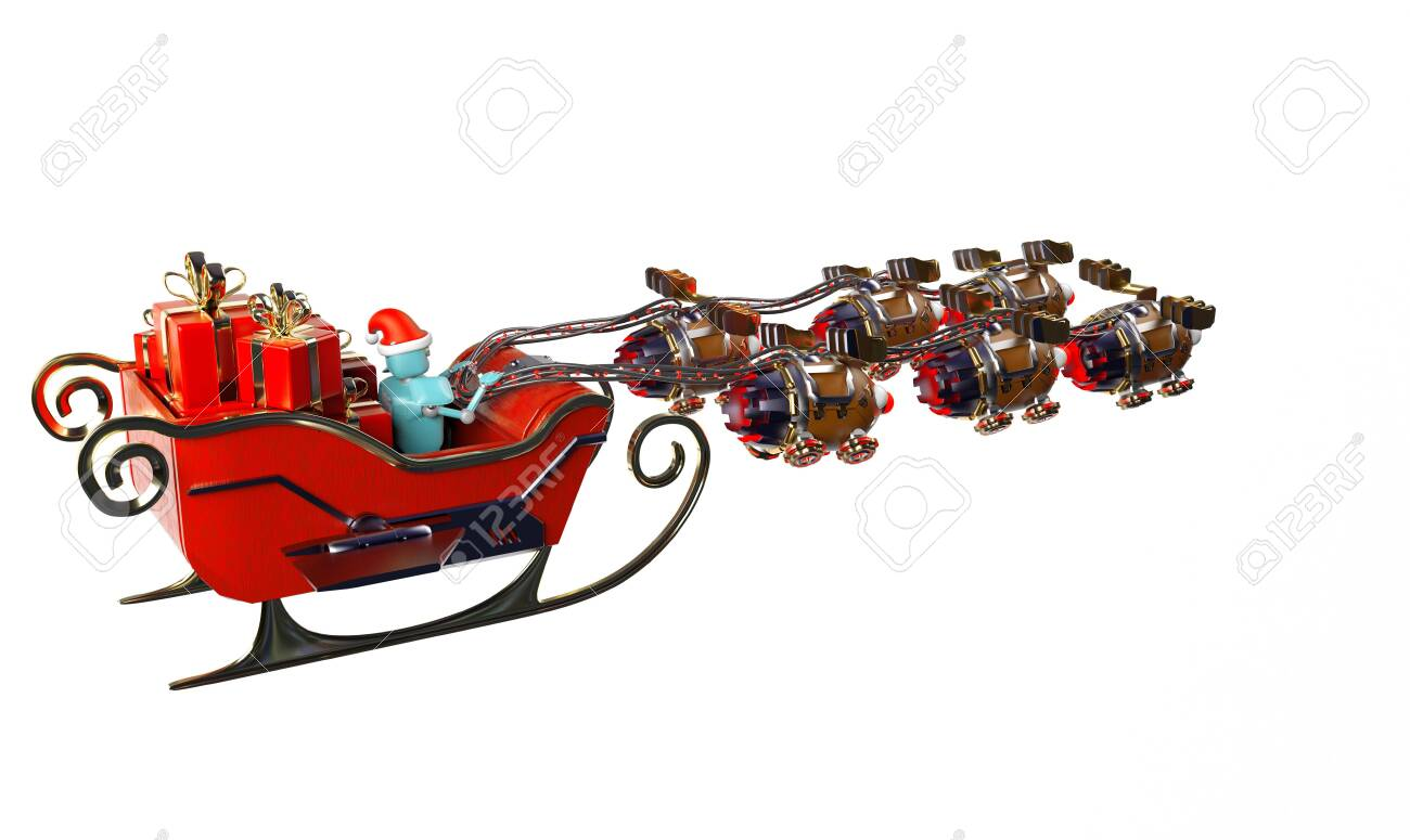 The christmas sleigh with six deer robots.3d render. - 137047412