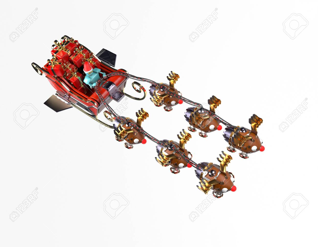 The christmas sleigh with six deer robots.3d render. - 137047417