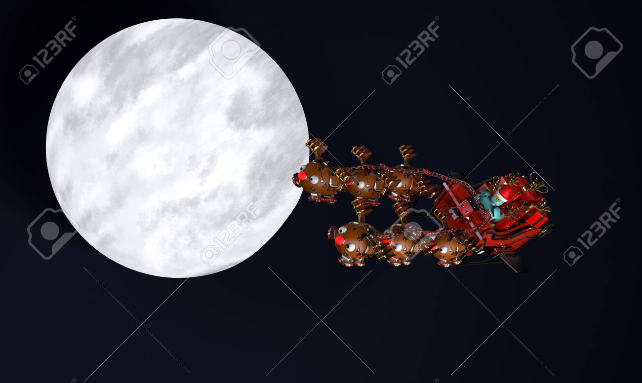 The christmas sleigh with six deer robots.3d render. - 135032284