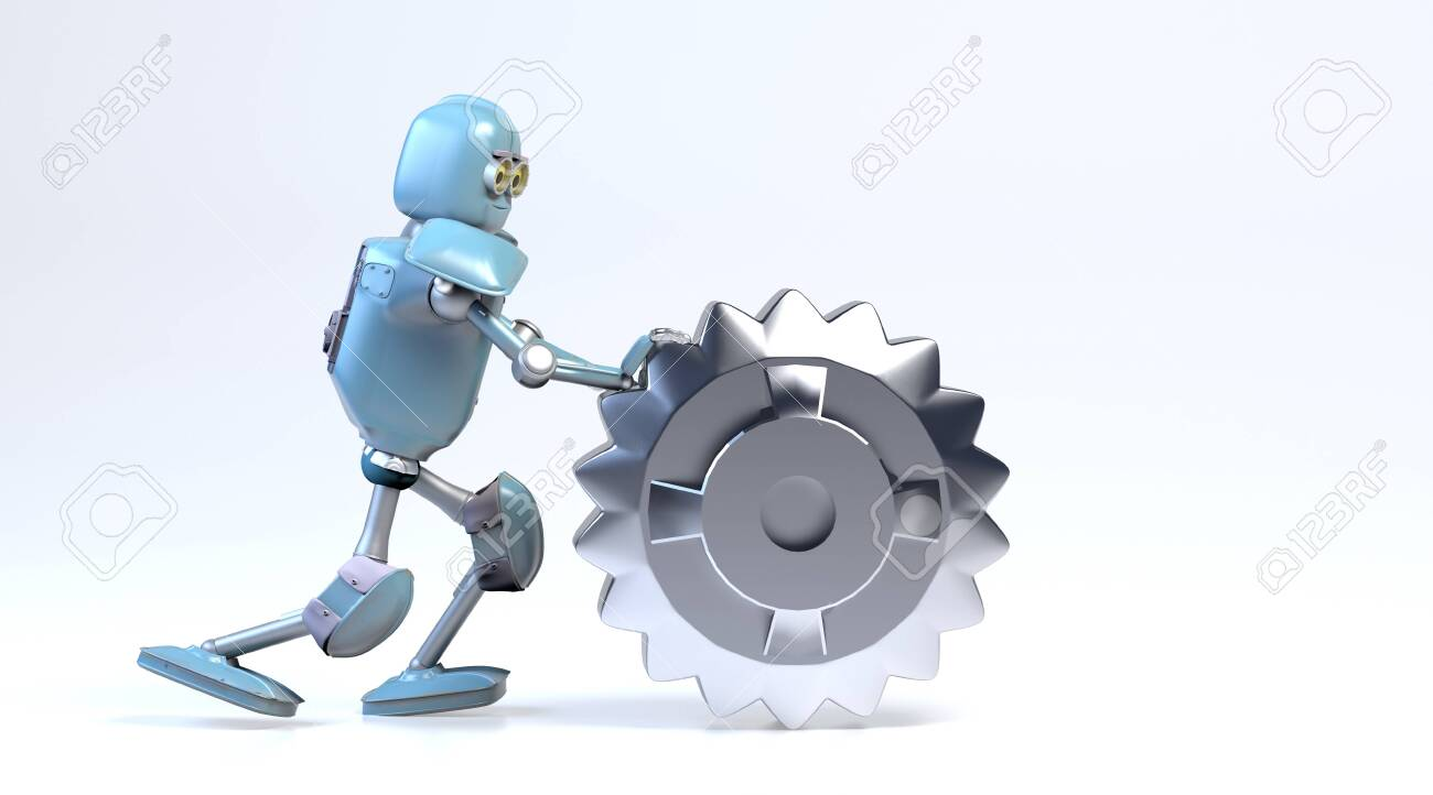 the retro robot rolls a gear,3d render. - 137047455