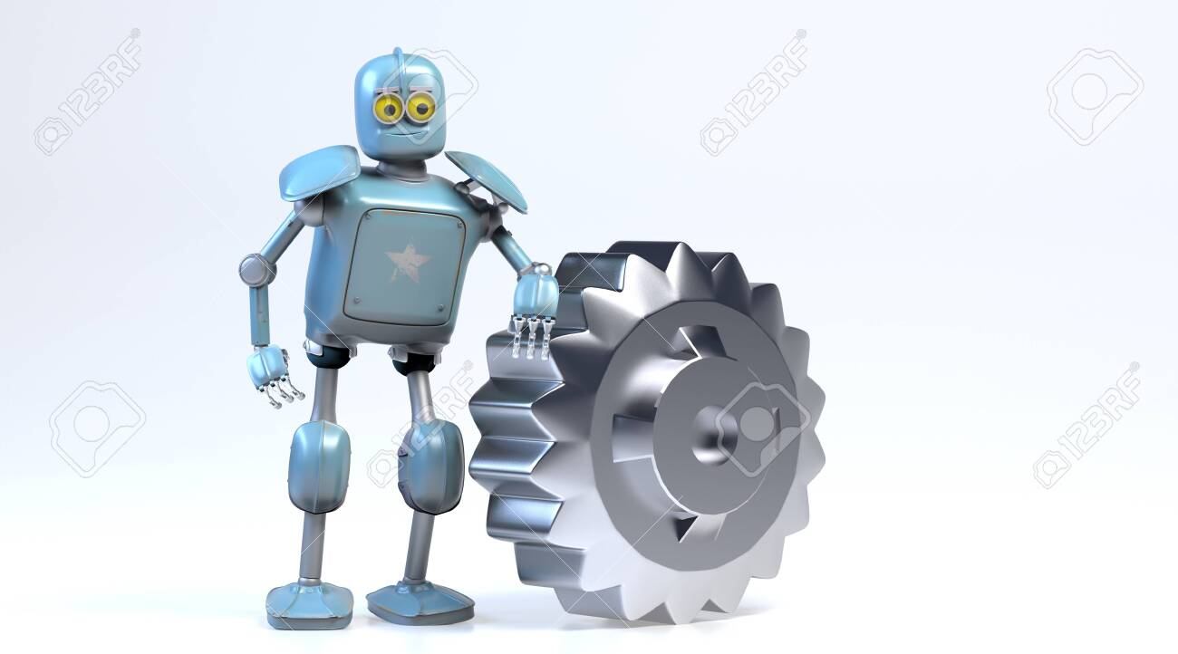 the retro robot with gear,3d render. - 137047456