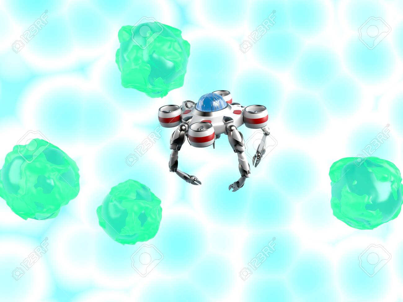The nano robot with bacteria, Nanobot, Medical concept future,3d render. - 137047459