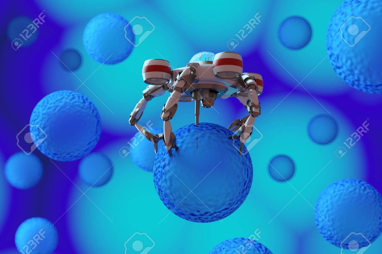 The nano robot ,medical concept,3d render - 137047467