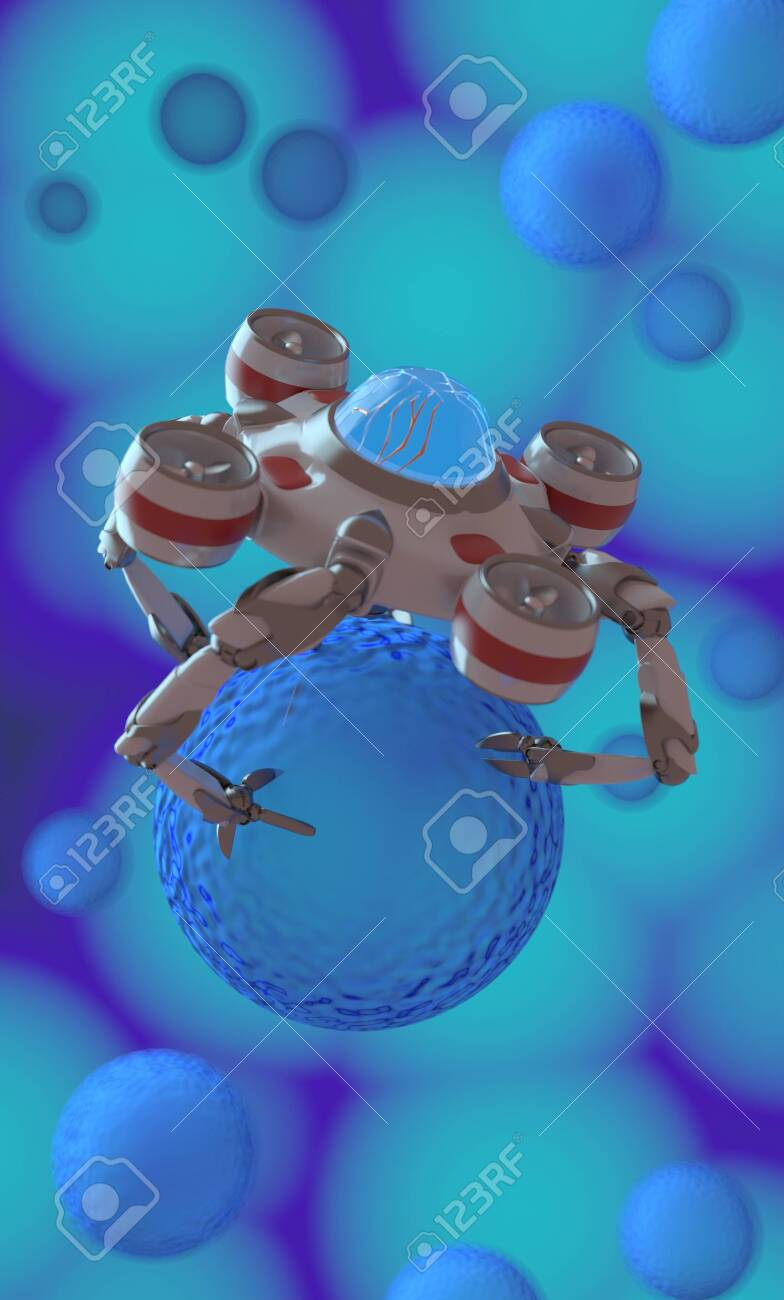 The nano robot ,medical concept,3d render - 137047473