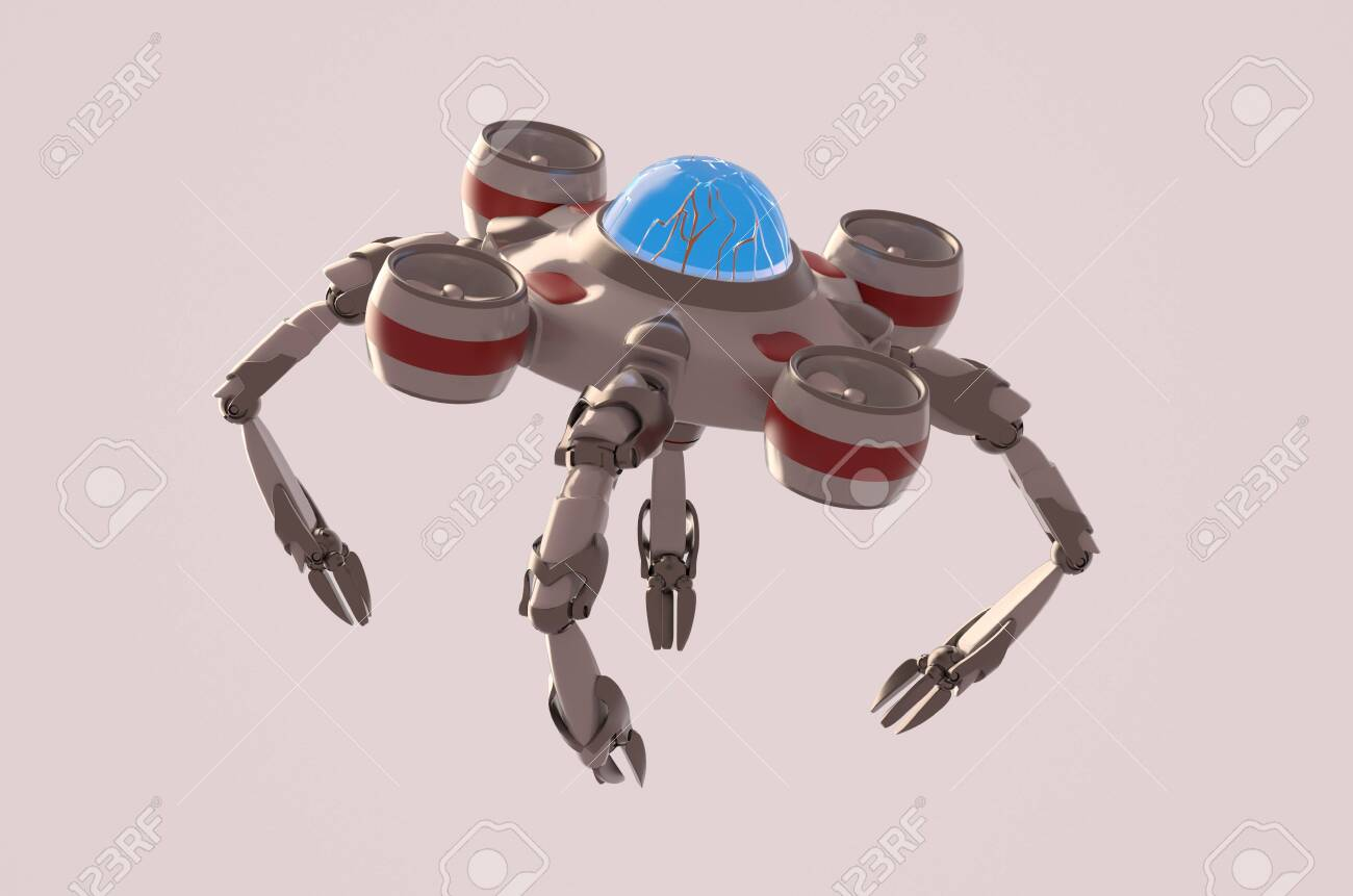 The nano robot on the white background,3d render. - 135310500